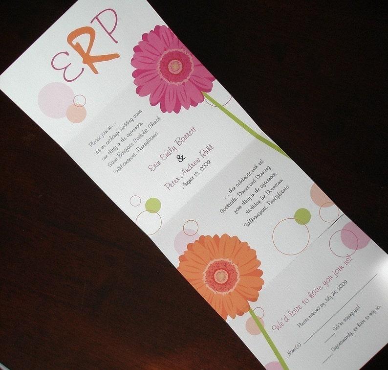 Pink Gerber Daisy Wedding Invitation Seal Send Wedding Etsy