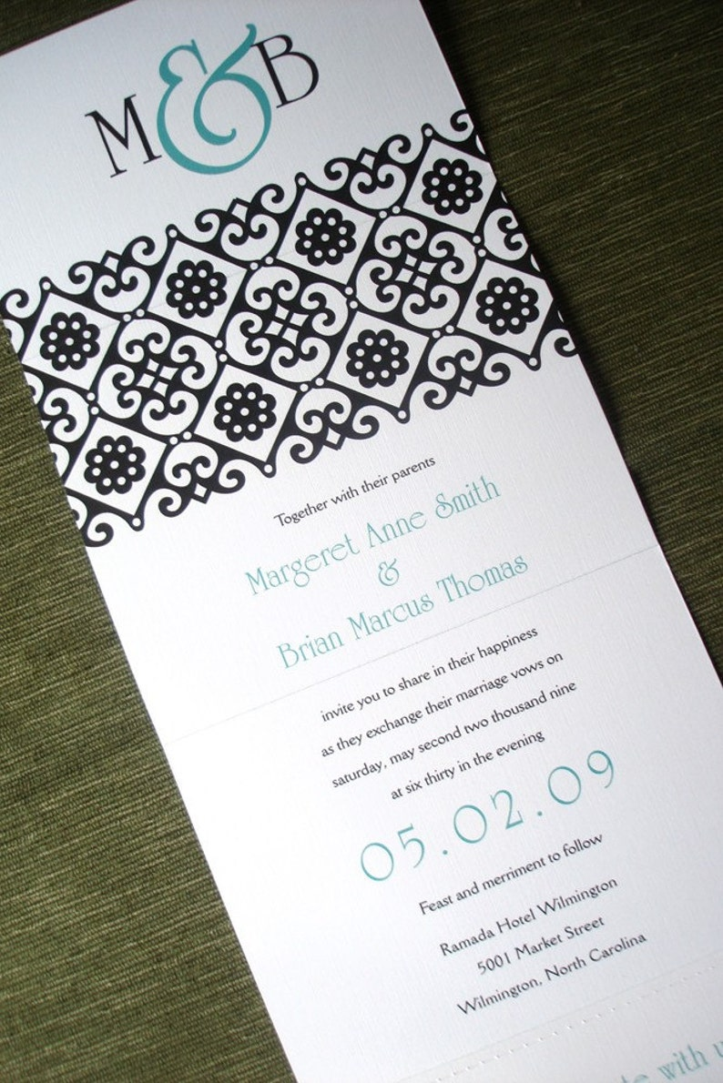 Seal And Send Wedding Invitations.Turquoise Wedding Invitation Seal And Send Simple Wedding Invitations Black Invitation Modern Wedding Invitation Teal Causal Invitation