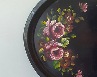 24 Inch Pink Rose Toleware Tray - XL Oval Serving Tray, Wedding Centerpiece, Hanging wall floral painting, black metal hand-painted art