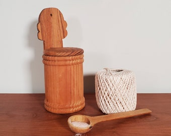 Primitive hanging salt cellar, rustic wood kitchen tool, wall mounted storage container, spice box with lid, country farmhouse, handmade