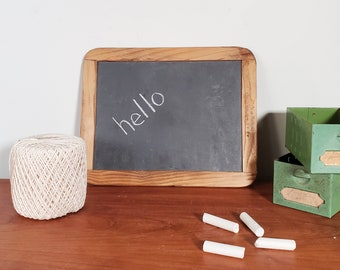 original slate chalkboard in wood frame, Made In Portugal, small double sided antique school writing instrument, homeschooling office supply