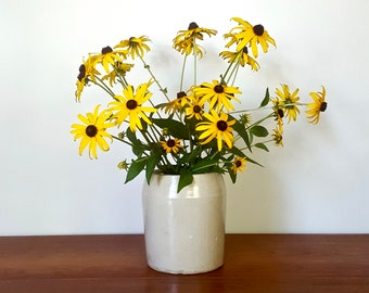 6.5 inch Stoneware Crock - vintage country farmhouse butter churn base, perfect wildflower vase