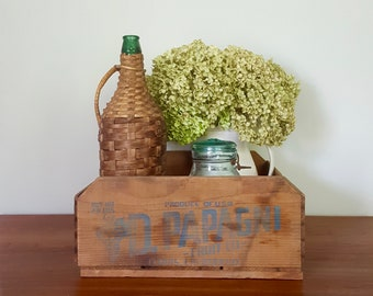 D. Papagni Fruit Ltd. California Grape Crate - Vintage Wooden Shallow box, USA fruit container, display tray, Blue label, farmhouse design