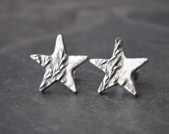 Star Earrings, Plant Earrings, Prairie Earrings, Star Stud Earrings, Botanical Earrings, Astronomy Gift, Sterling Star, Grass Earrings