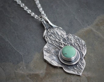 Prairie Grass Necklace, Royston Turquoise Pendant, Sterling Silver Chain, Artisan Made, Earthy Necklace, Botanical Necklace, Grass Necklace