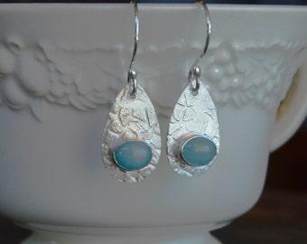 Tear Drop Earrings, Sterling Earrings, Silver Earrings, Amazonite Earrings, Blue Gemstone Earrings, Blue Earrings, Drop Earrings, Textured