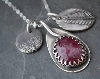 Ruby Charm Necklace, Prairie Jewelry, Prairie Wildflower Pendant, Catclaw Sensitive Briar, Plant Necklace, Wildflower Necklace, Botanical