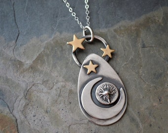 Celestial Necklace, Aster Pendant, Moon and Stars on the Prairie, Silver Moon, Brass Stars, Boho Necklace, Botanical Necklace, Astronomical
