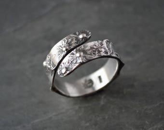Aster Ring, Flower Ring, Botanical Ring, Wrap Ring, Nature Ring, Prairie Ring, Bypass Ring, Sterling Ring, Kansas Ring, Custom Sizes