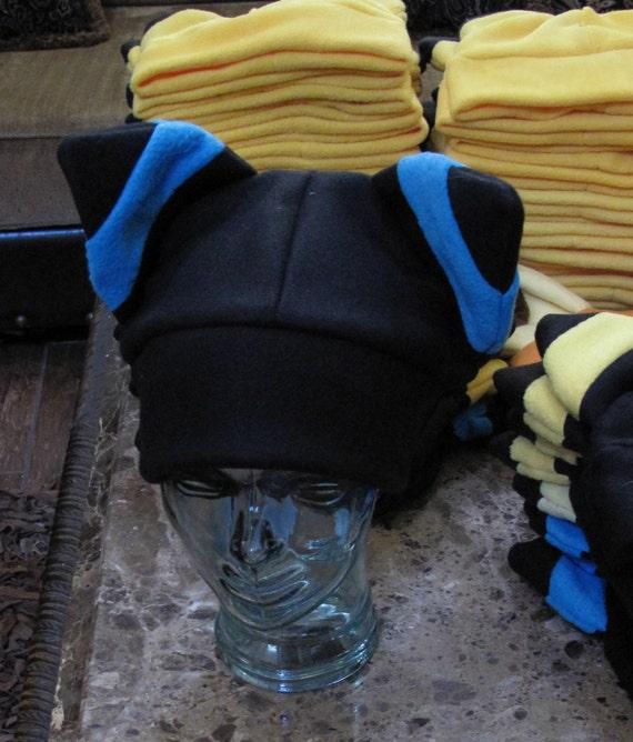 Blue Umbreon  fleece winter warm ear hat in  6 sizes