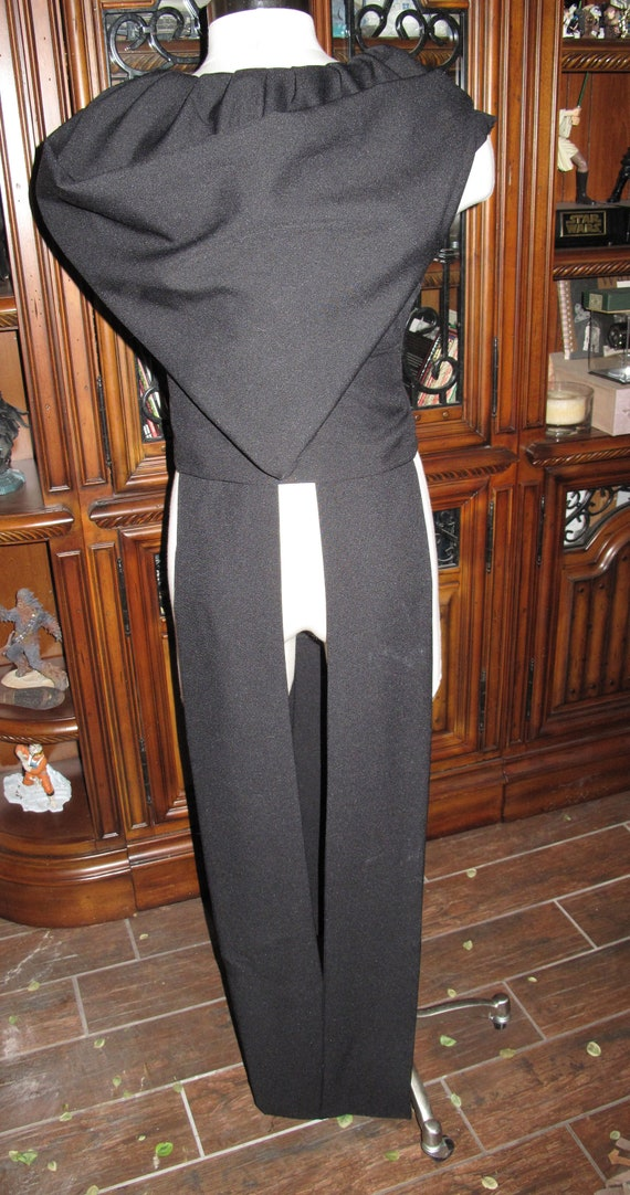 Black sleeveless hooded floor length tabards and sash in several sizes