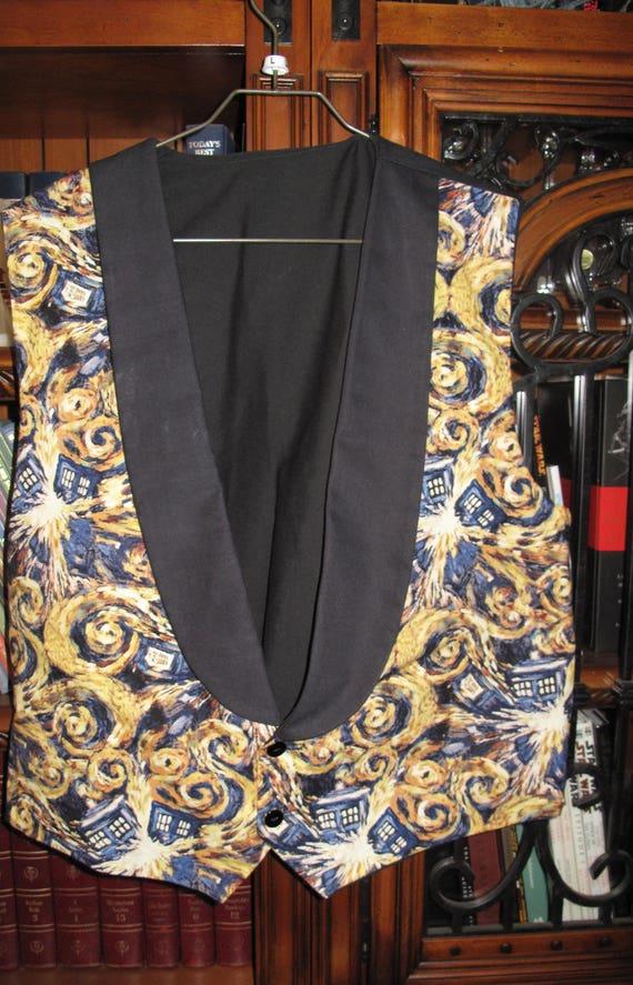 Dr. Who Van Gogh  print Tuxedo men's vest in 8 sizes