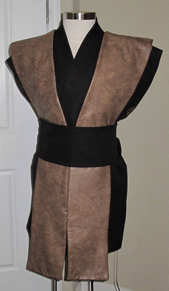 Sleeveless black tunic  light brown pleather tabards  sash 4 piece costume