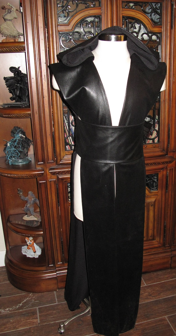 Black Marbled Pleather sleeveless hooded floor length tabard vest with a sash in several sizes