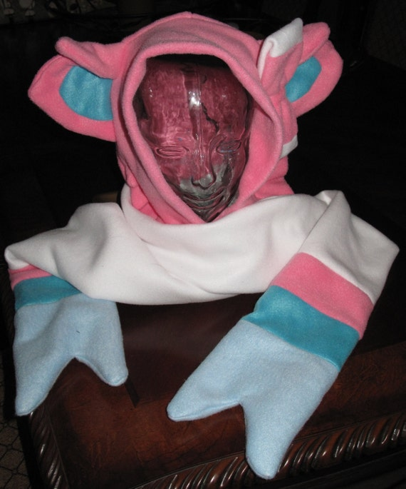 Sylveon fleece scarf hoodie ear hat in 6 sizes