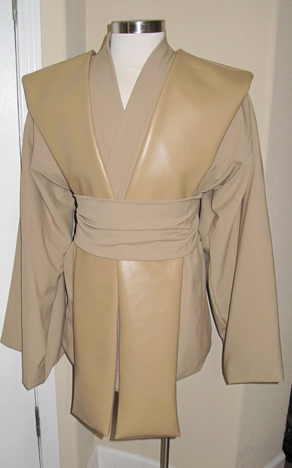 Jedi beige tunic and sash with beige pleather tabards 4 piece costume