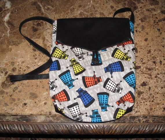 Dr. Who Dalek print unisex shoulder bag or crossbody bag size 14x11x3 in two styles