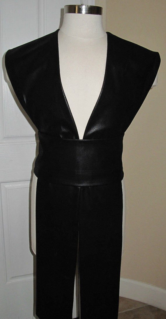 Cosplay Black marbled pleather tabards and sash in several sizes