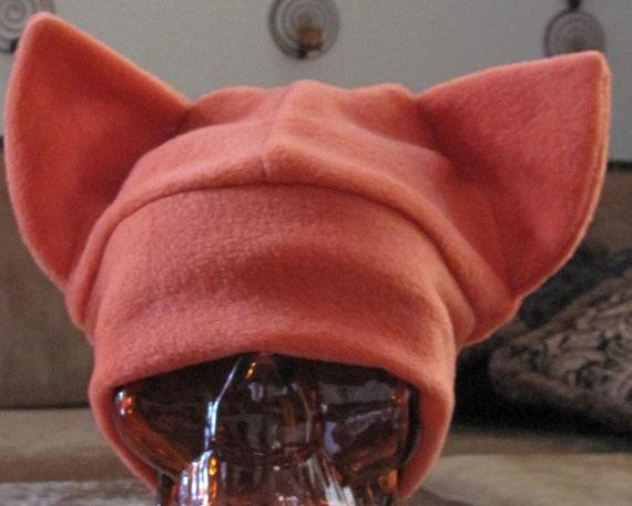 Cat orange fleece beanie ear hat in 7 sizes