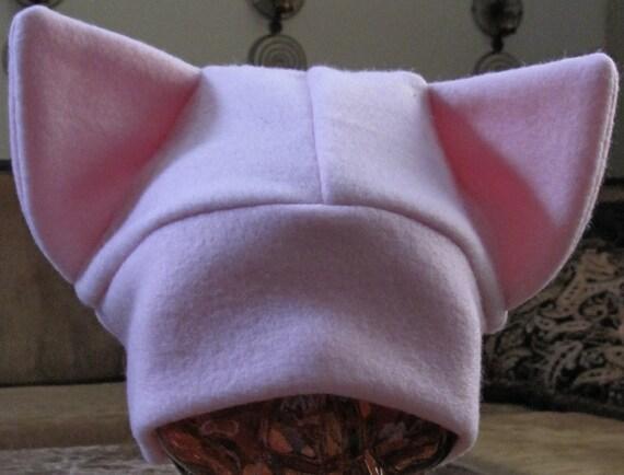 Cat ear pale pink fleece hat in 7 sizes