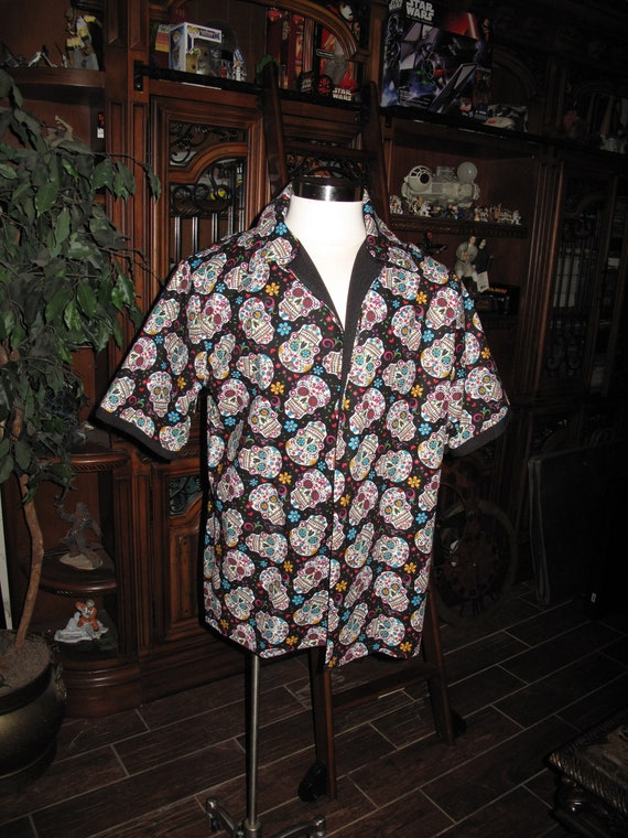 Day Of the Dead,Dia de los Muertos,Guayabera Folklore Skulls style Men's shirt