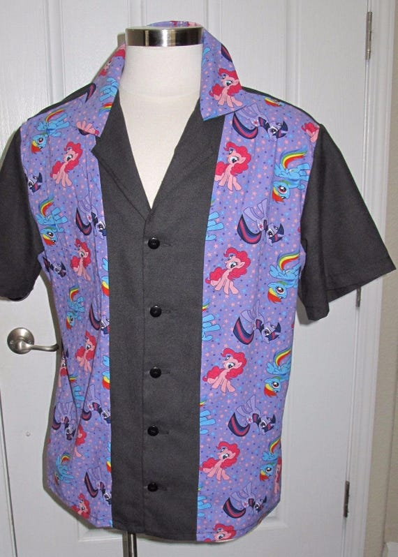 My Little Pony print Men's bowling shirt in 10 sizes