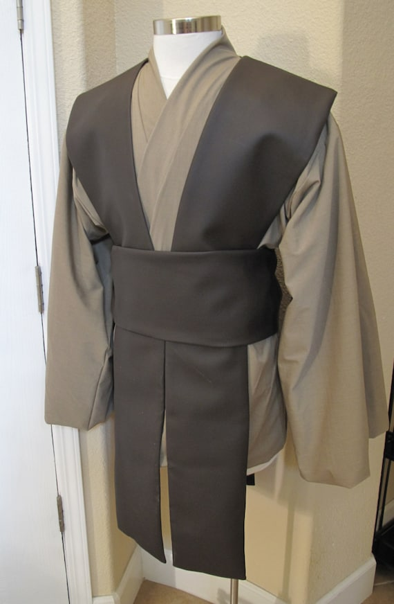 Khaki rayon suiting,brown pleather tabards Jedi tunic,tabards & sash costume set