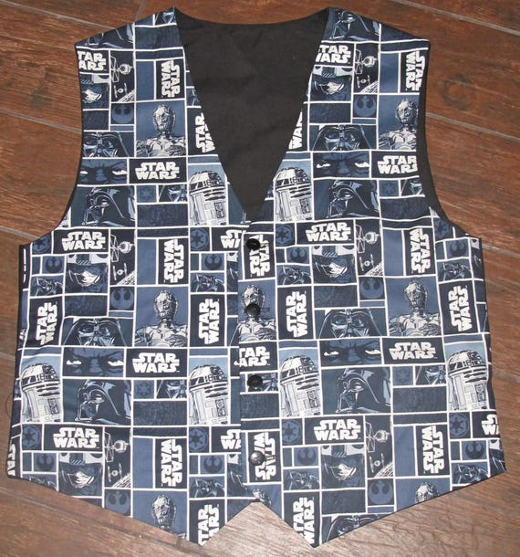 Star Wars Gray Character print men's sporty vests with buttons for closure in 8 sizes