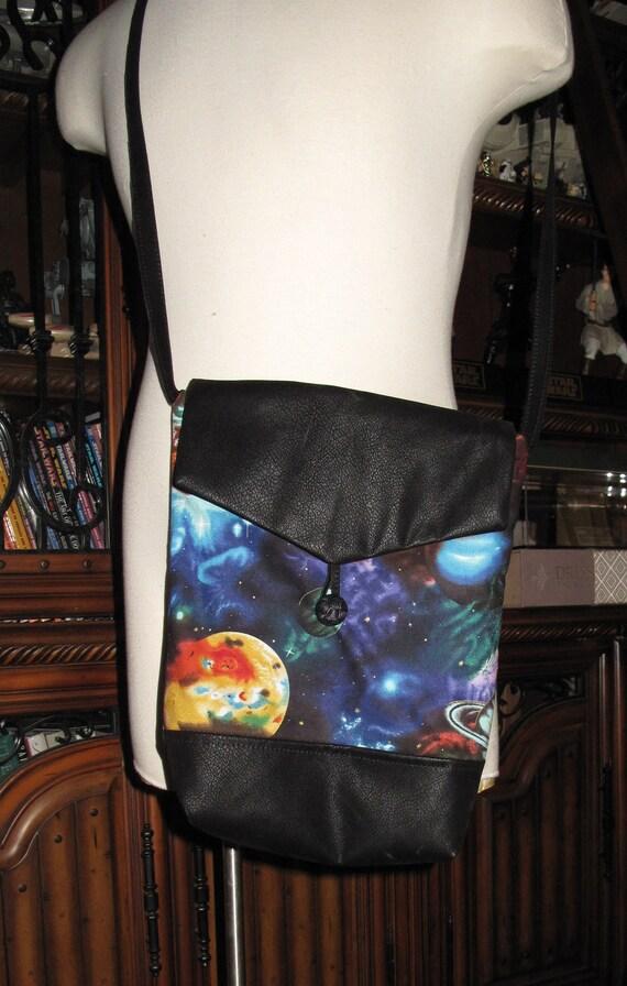 Large Planets print unisex shoulder bag or crossbody bag size 14x11x3