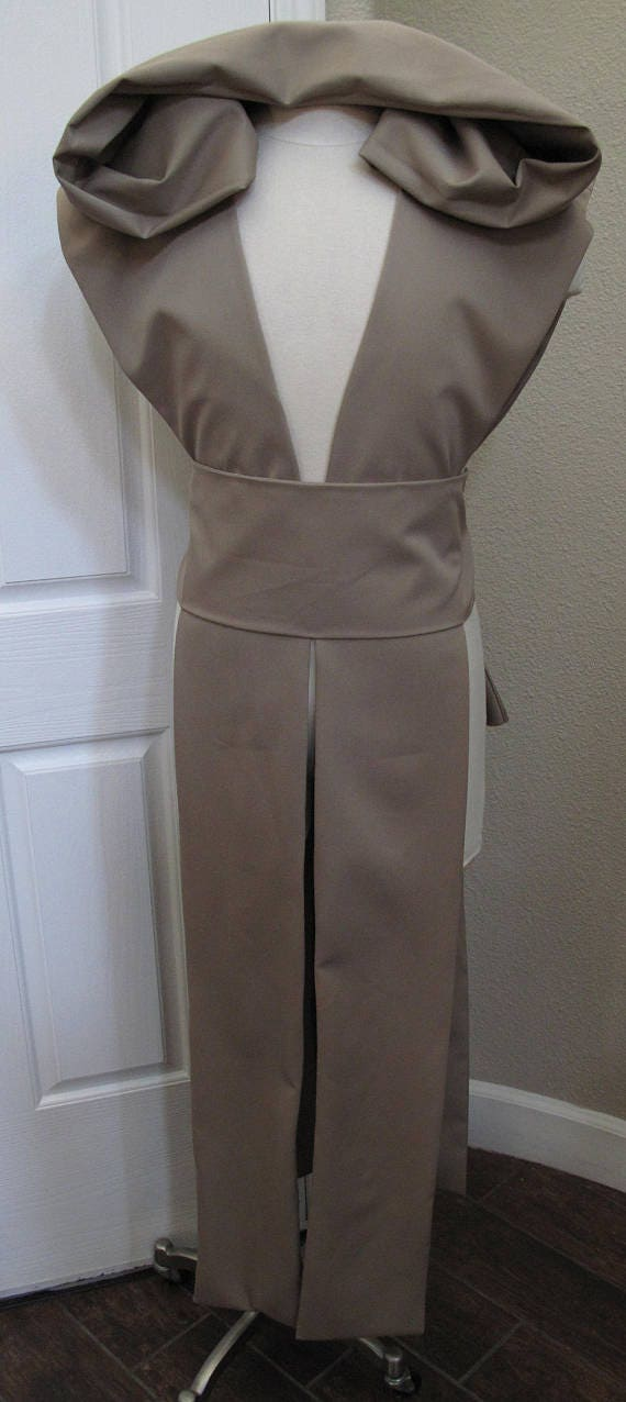 Dark Beige sleeveless hooded floor length tabard vest with a sash in several sizes