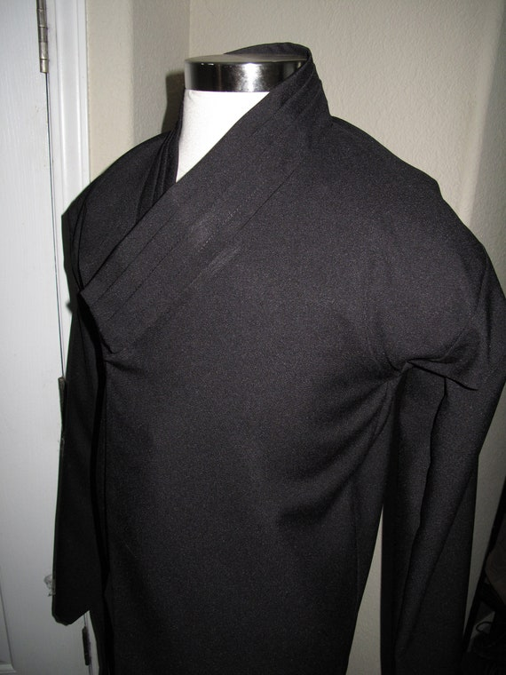 Star Wars Black Sith shirt with horizontal tucks on the collar and elastic  or ties around the wrist in 10 sizes XS to 5X