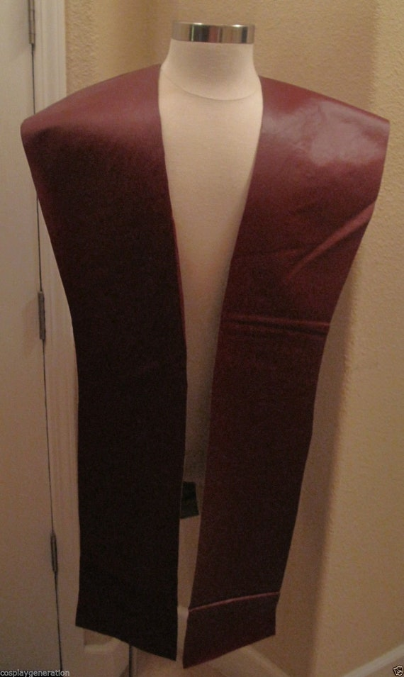 Burgundy pleather tabards in 10 sizes