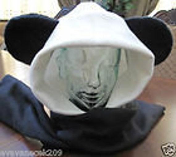 Panda bear ear scarf hoodie fleece hat