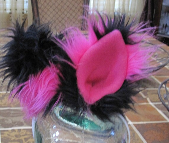 Cheshire cat pink/black striped luxury shag faux fur ears in 2 styles & tails in 2 sizes