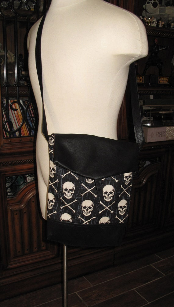 Skulls & bones print unisex shoulder bag or crossbody bag size 14x11x3 or 18x13x3