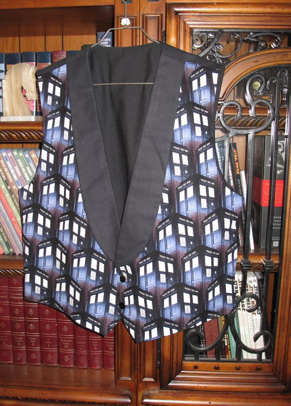 Dr. Who Police Box print Tuxedo men's vest in 8 sizes