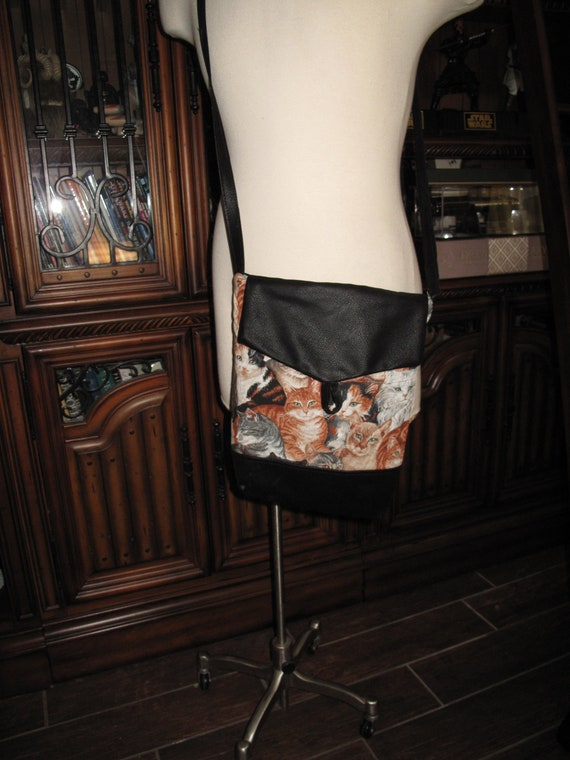 Cat print unisex shoulder bag or crossbody bag size 14x11x3