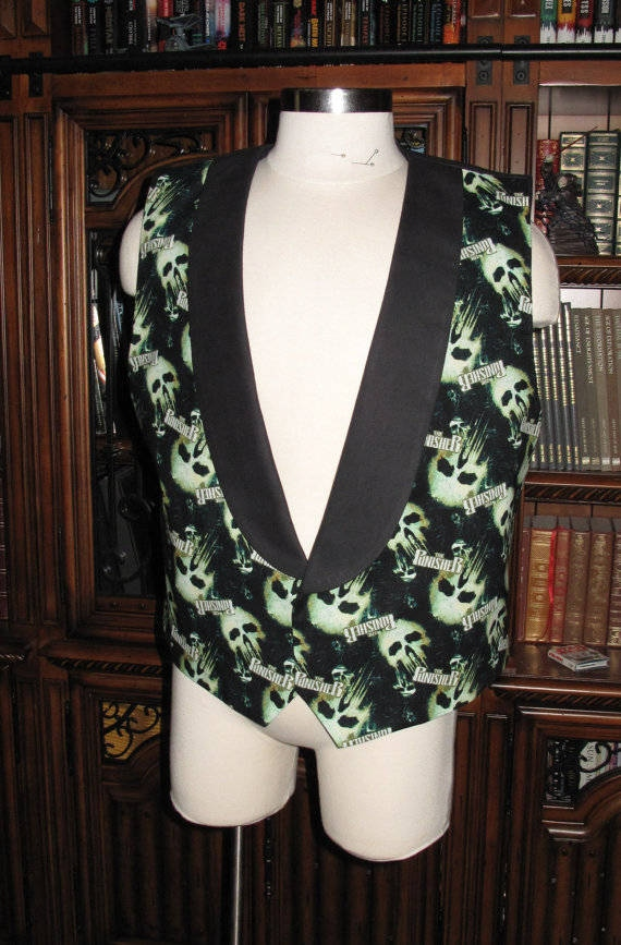 Punisher print Tuxedo men's vest in 8 sizes