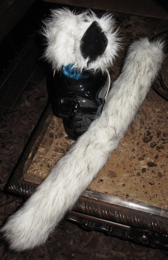 Alaskan Husky frosted white black tips luxury shag faux fur ears tails & sets