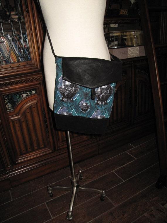Black Panther print unisex shoulder bag or crossbody bag size 14x11x3