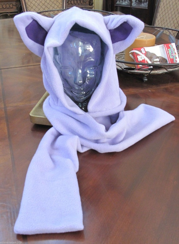 Cosplay Pokemon Espeon fleece scarf hoodie ear hat