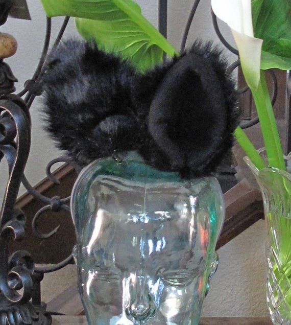 Black Luxury shag faux fur Ears in 2 styles and tails in 2 sizes