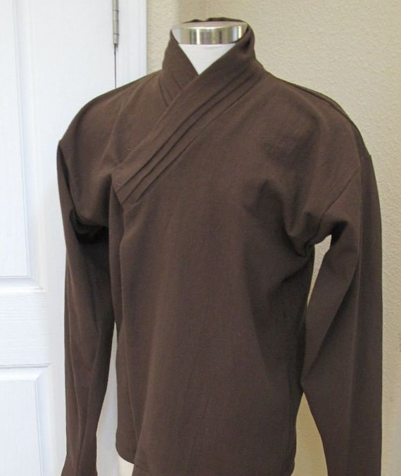 Star Wars Jedi Sith under tunic costume shirt with vertical tucks on the collar and elastic around the wrist