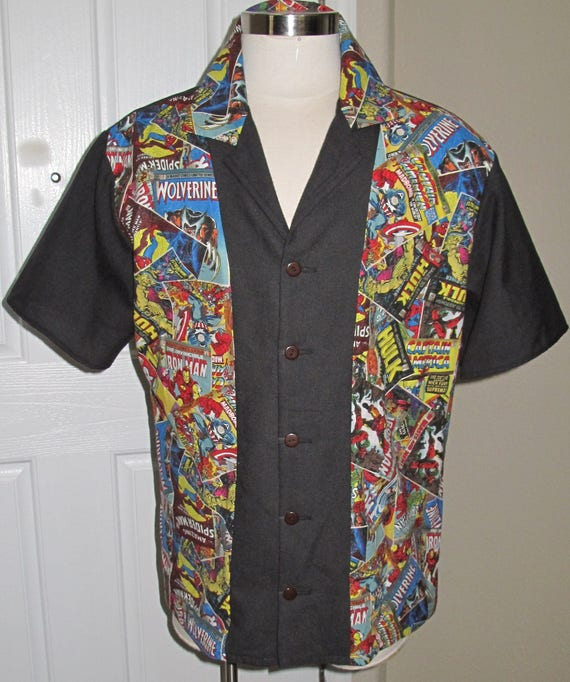 Super Hero Comic Book print Men's bowling shirt in 10 sizes