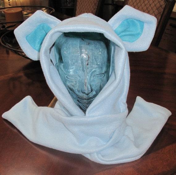 Glaceon fleece scarf hoodie ear hat