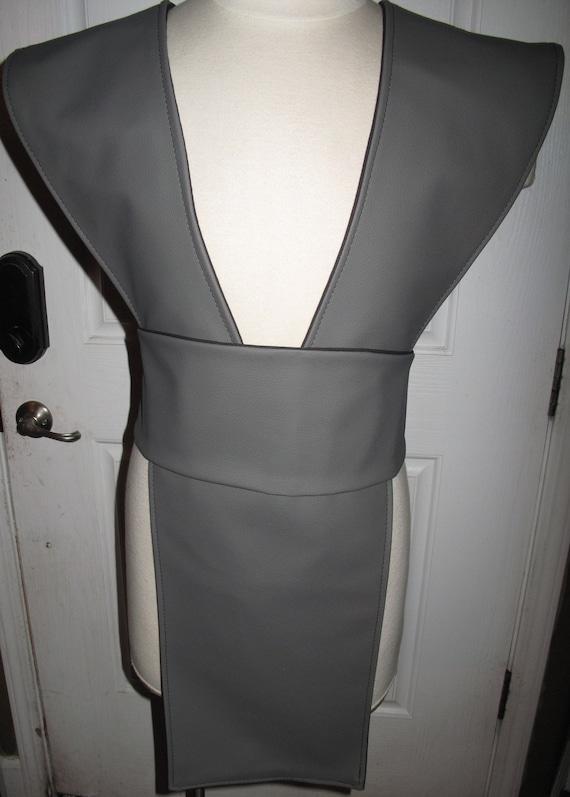 Mortal Kombat Smoke Gray Ninja Pleather Tabard Vest and Sash in several sizes