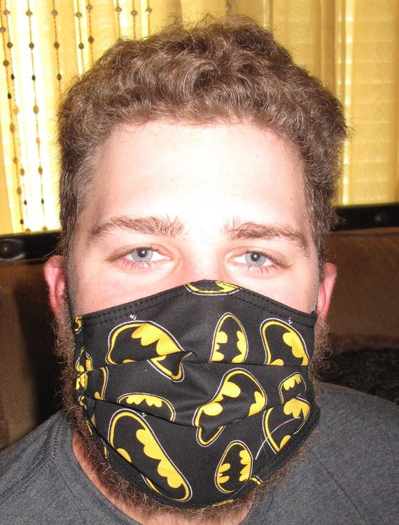 Black Batman 3 layer cotton Face Mask and none woven interfacing and or Ear Guard in 4 sizes