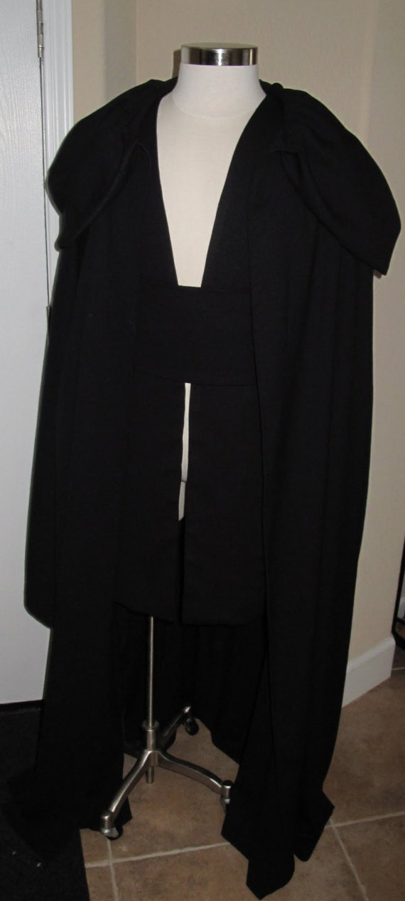Costume Sith black wool robe, tabards and sash