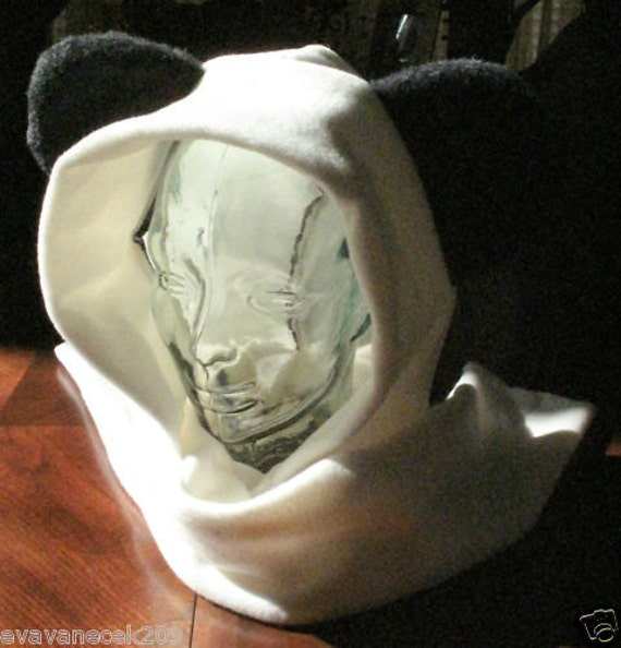 Panda bear scarf hoodie fleece ear hat in 6 sizes& 4 colors
