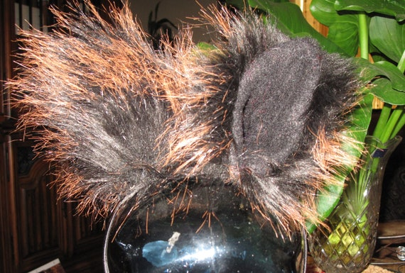 Mammoth black orange tips luxury shag faux fur Ears in 2 styles & tails in 2 sizes